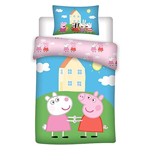 Peppa Pig - Juego de ropa de cama infantil (reversible, funda de almohada de 40 x 60 cm, funda...