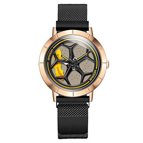 SYLL Reloj de Rueda de Coche único para Hombre, Reloj con Correa de Malla de Acero de Cuarzo a la Moda, Reloj Creativo a Prueba de Agua Giratorio de 360 Grados,Black Rose Gold
