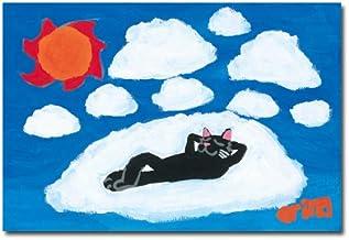猫の足あと ポストカード 「めいそう中」