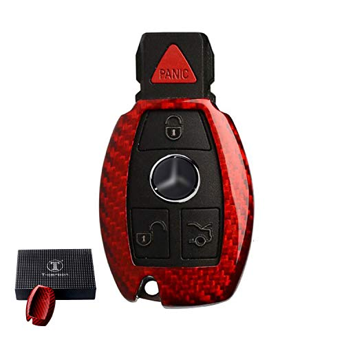 Funda para llave de coche Kwak de fibra de carbono compatible con Mercedes Benz Control inteligente