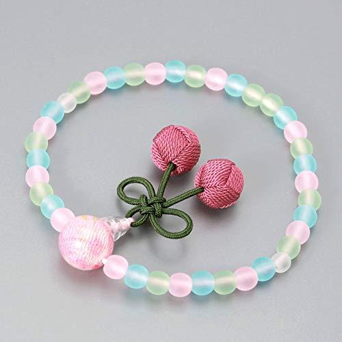 数珠 念珠 子ども用 ブレスレット 京都宝珠 ミックス玉 さくらんぼ房 ピンク すべての宗派 対応 略式 仏壇 仏具