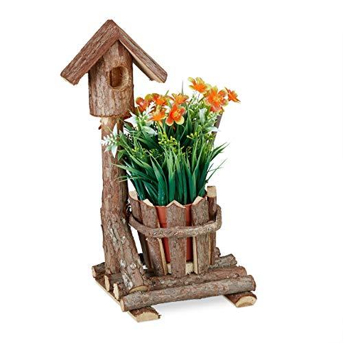 Relaxdays Holz Blumentopf, mit Deko Vogelhaus & Baumrinde, runder Übertopf, rustikale Dekoration, innen & außen, braun, 1 Stück