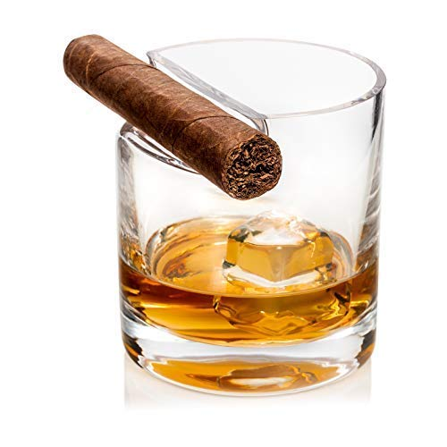 Whisky Glass With Cigar Rest | Ideal Gift For A Lover of Whisky, Bourbon, Scotch & Cigars, For The Man Who Has Everything | Comfortable Size Glass in Hand | Top Loading Slot Keeps Cigar Dry.