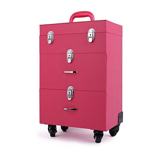 Cravate Nail Art Kit de tatouage, trois étages avec boîte de rangement de tiroir, manucure haute capacité professionnelle Trolley Case cas cosmétique -Brouettes (Couleur : Pink)
