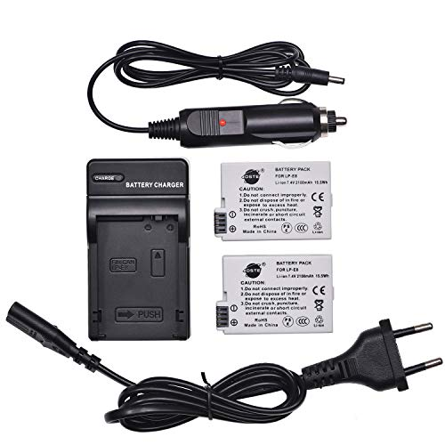 DSTE 2-Pack Batteria + Caricabatteria Compatibile per Canon LP-E8 EOS 550D 600D 650D 700D Kiss X4 X5 X6i X7i Rebel T2i T3i T4i T5i