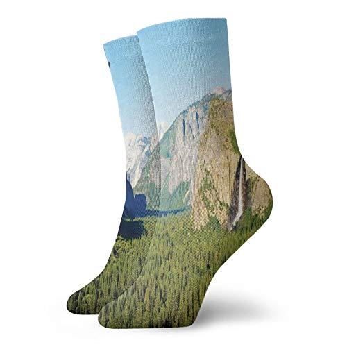 Calcetines suaves de longitud media pantorrilla, El Capitan media cúpula y Bridalveil Falls Tourist Attraction, imagen de paisaje, calcetines para mujeres y hombres mejores para correr