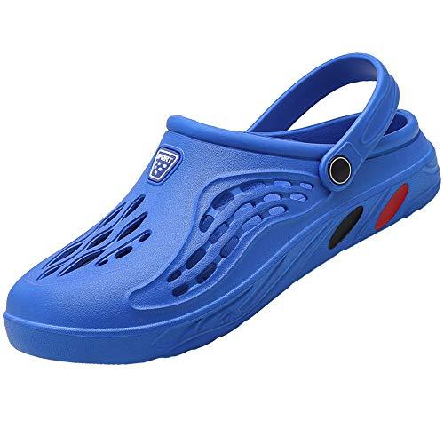 [Unitysow] サンダル メンズ スリッパ 水陸両用 メッシュ ビーチサンダル オフィスサンダル 超軽量 ベランダ 室内履き ルームシューズ サボサンダル 速乾 滑り止め スポーツサンダル、ブルー、25.0 cm