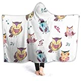 Yuanmeiju Owls Wearable Flannel Blanket Throw Super Soft Plush Luxury Lightweight for Sofa Couch Bed for Adult