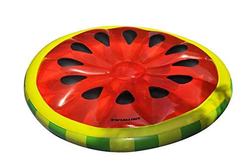 Swimline Watermelon Slice Floating Pool Island Red/Green 60'' Diameter