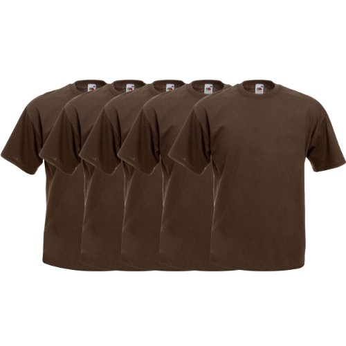 Fruit of the Loom Original  T Rundhals T-Shirt F140 5er Pack- Gr. XL, Chocolate
