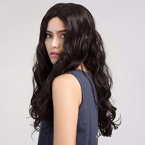 Cheveux longs bouclés longs ondulés brun foncé, 55cm, cheveux artificiels, soie haute température à fibres chimiques, utilisé pour un usage quotidien par les femmes
