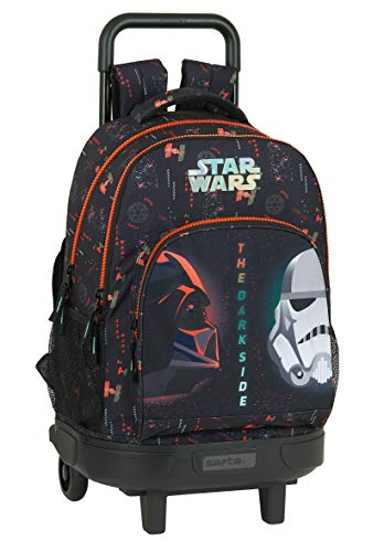 safta Mochila Escolar con Carro Incluido y Espalda Acolchada de Star Wars The Dark Side, 330x220x450mm, Negro/Naranja, M (M918)
