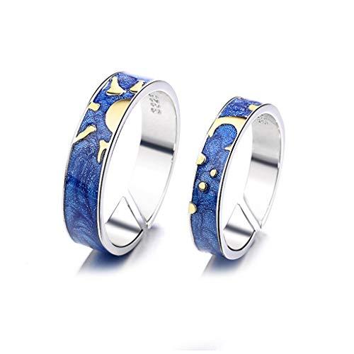 Carrykt - Anillo abierto con diseño de estrella y luna y estrella, color azul