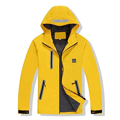 XASY verwarmde jas, winddicht warm zwart winterjas heren en dames verwarming jas hoodie met USB-kabel