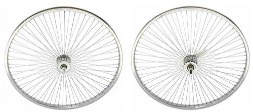 "Lowrider Chrome 26"" 144 Spoke Wheel Set. Front and Back Coaster Wheel"