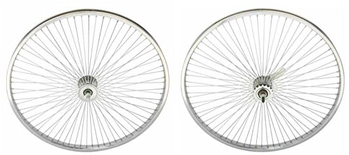Lowrider Chrome 26' 144 Spoke Wheel Set. Front and Back Coaster Wheel