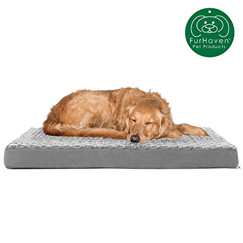 Furhaven Pet Dog Bed | Deluxe Orthopedic Mat Ultra Plush Faux Fur Traditional Foam Mattress Pet Bed...