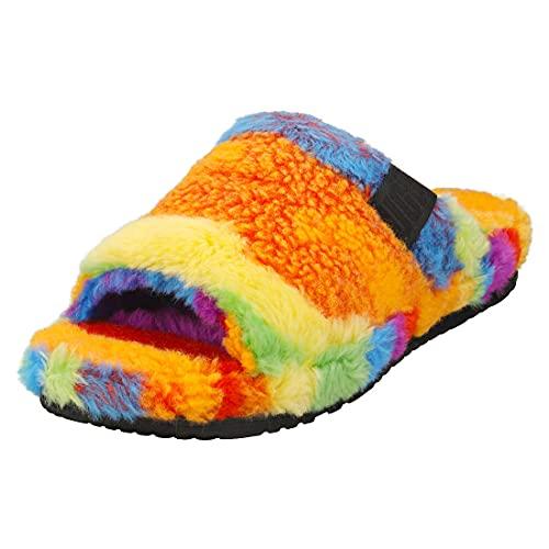 UGG Men's Fluff You Cali Collage Slipper, Pride Rainbow, 6 UK
