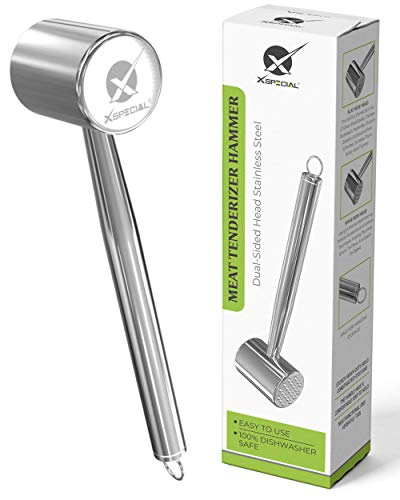 XSpecial Meat Tenderizer Hammer Dual Sided Head Stainless Steel  100% DISHWASHER SAFE  Easy To Use  Best Kitchen Mallet Pounder For Chicken Breast Pork and veal cutlets