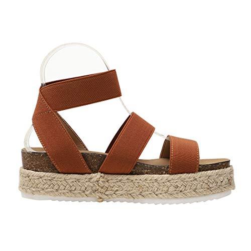 Womens Casual Slide On Espadrille Platform Sandals Comfort Ankle Elastic Strap Flatform Wedge Sandals (Brown,11 M US)