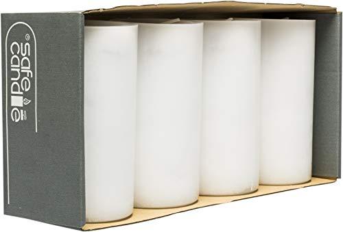 safe candle Trendkerze selbstverlöschend, 4 Stück, Höhe 13 cm / Ø 7 cm, 59 Std. Brenndauer (Weiß)