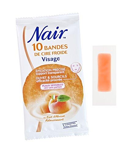 Nair - 10 Bandes de Cire Froide Visage - Lait d'Abricot - Lot de 3