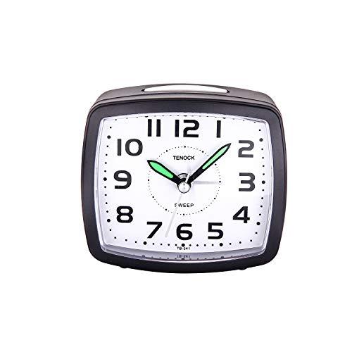 REN Deal Despertador Analógico de Viaje,Reloj de Alarma para Niños Pequeño Tamaño con Pilas Que no Hace Tictac Posponer Funciones de luz Reloj de Mesa de Noche Reloj Despertador (Negro-Nuevo)
