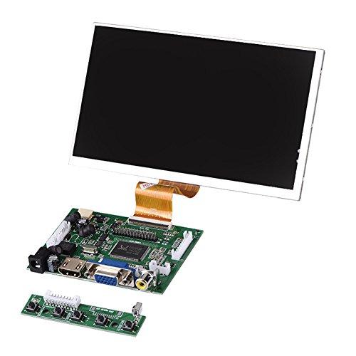 Garsent 7 Zoll HD LCD Bildschirm für Raspberry Pi,1024X600 hoher Auflösung AV + VGA + HDMI Monitor Display für Raspberry Pi 2/3 Modell