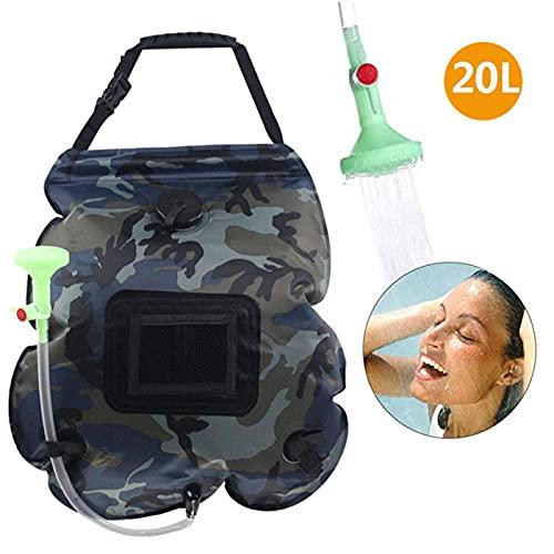 Bolsa de ducha solar, 20L/5 galones de calefacción solar, bolsa de ducha portátil con manguera extraíble y cabezal de ducha conmutable para camping, playa, viajes al aire libre, senderismo