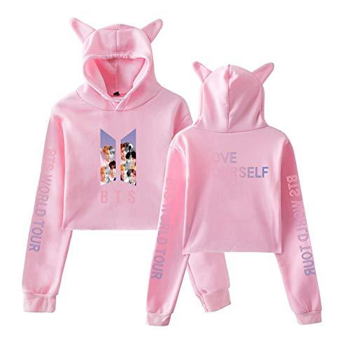 Sudadera con Capucha de Manga Larga con Orejas de Gato BTS para niñas Adolescentes para Mujer L