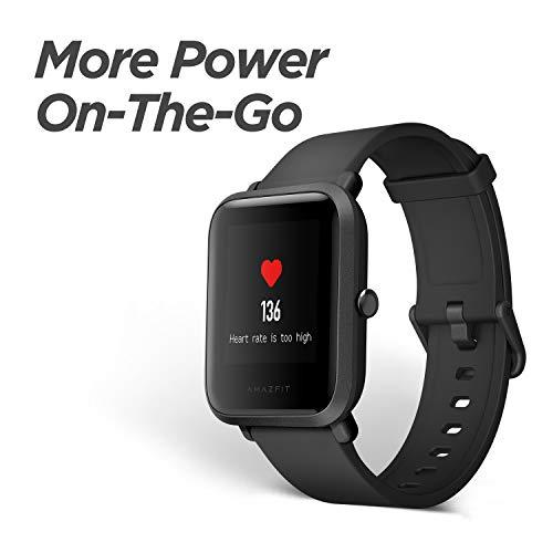Amazfit Bip Smartwatch por Huami con frecuencia cardíaca Todo el día y Seguimiento de la Actividad, monitoreo del sueño, GPS, batería de Larga duración, Bluetooth, IP68 Resistente al Agua (Negro)