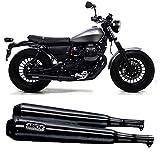 arrow tubo de escape homologado doble escape pro-racing nichrom negro fondo inox compatible con moto guzzi v9 bobber 2017 2018 2019 2020 mototopgun 71857prn