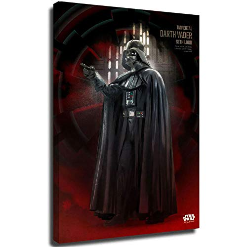 Xicplc Star wars film 3D Oil Painting Darth Vader Print poster 12' x 18' Framed Art Bedroom Bathroom Home Office Living Room Decorations, Stretched and Ready to Hang