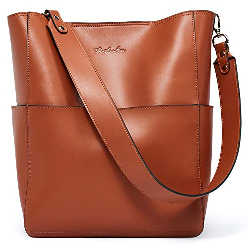 BOSTANTEN Women's Leather Designer Handbags Tote Purses Shoulder Bucket Bags Brown