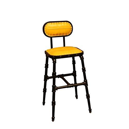 Haushaltsprodukte Modern Simple Counter Hocker Öl Wachs Leder Schmiedeeisen Schwammgefülltes Kissen mit hoher Dichte Drehbar Hochhocker Cafe Bar Stuhl (Farbe: Gelb)