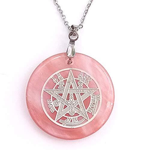 ARITZI - Colgante Redondo de Mineral Natural con símbolo de Tetragrammaton y Cadena de 50 cm en Acero - Distintas Piedras semipreciosas