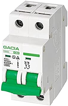Interruptor Automático Magnetotérmico 2P Curva C 16A 6KA - GACIA