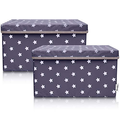 Lifeney 2-Set Aufbewahrungsbox Kinder (37x25x21cm) I Aufbewahrungskorb für Kinderzimmer und Wohnbereich I Kinder Aufbewahrungskiste (Anthrazit Stern)