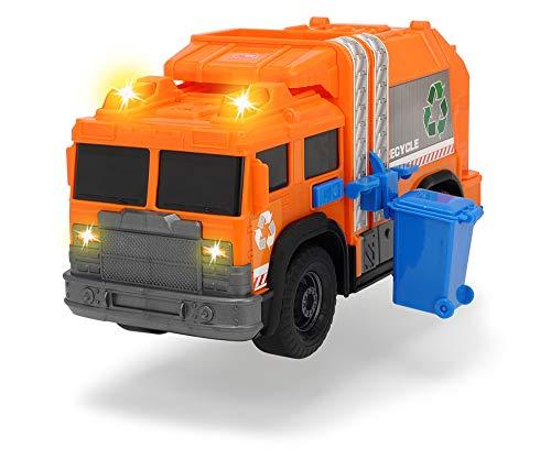Dickie Toys 203306001 Recycle Truck, Müllauto, Müllabfuhrwagen, Müllfahrzeug, Müllwagen, Spielzeugauto, Abfallbehälter fährt auf und ab, Licht & Sound, inkl. Batterien, 30 cm groß, ab 3 Jahren