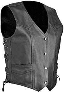 Bikers Gear Australia Classic Retro Lace Plain Leather Motorcycle Vest Fully Lined Black
