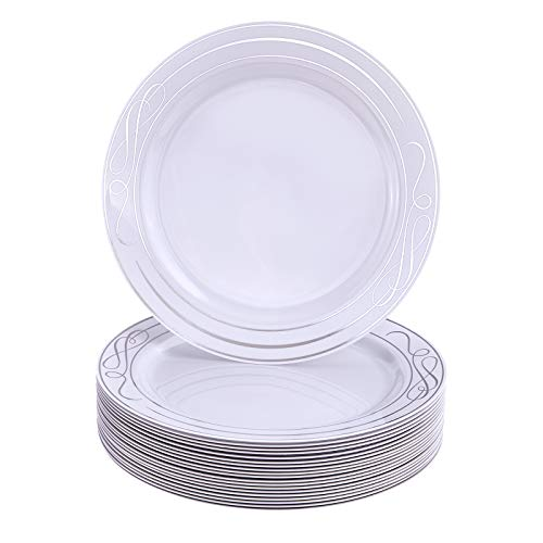 Disposable Side Plates | 40 pc | Heavy Duty Plastic Dishes | Elegant Fine China Look | Bella – Silver 7.5""