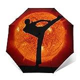 SUHETI Paraguas automático de Apertura/Cierre,Artes Marciales, Karate, Hombre, y, Sol, Planeta,Paraguas pequeño Plegable a Prueba de Viento