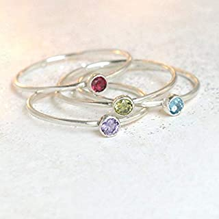birthstone ring. ONE stackable birthstone gemstone ring. sterling silver. mothers ring. stacking ring. personalized gift for her.