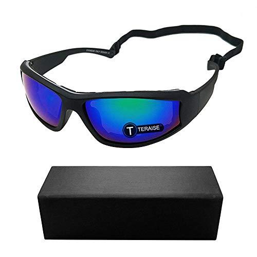 TERAISE Motorrad-Reitbrille-Sicherheits-Ski-Schutzbrillen justierbare UV400 schützende windundurchlässige staubdichte Anti-Nebel-Sonnenbrille für verschiedene Sportarten im Freien(Green)