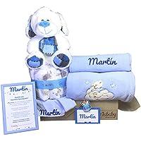 MabyBox Teddy Bear | Canastilla Bebé | Regalo Bebé Personalizado | Canastilla Regalo Recién nacido | Regalo Babyshower | Cesta Bebé Personalizada (Azul)