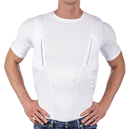 CCW Tactical Holster Shirt for Concealed Carry Compression Fit Clothing with Right and Left Hand Draw Handgun and Magazine Pockets, All Season Moisture Wicking, Mens, White, M
