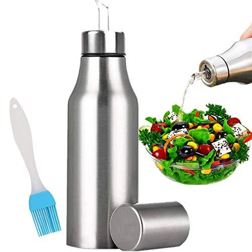 Nifogo Ölflasche Edelstah Öl & Essig Spender Ölbehälter Auslaufsicher Öl Flasche, 750ML Olivenöl Flasche mit Release Ausgießer für Öl Essig Soja-Sauce Salat Dressing (1PCS, 750ML)
