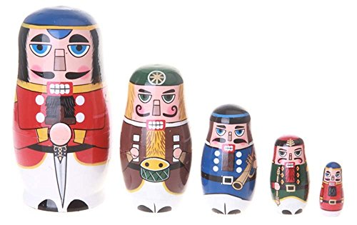 Amor Christmas Russian Wooden Matryoshka Nutcracker Wooden Nesting Dolls Toy Set Handmade Craft