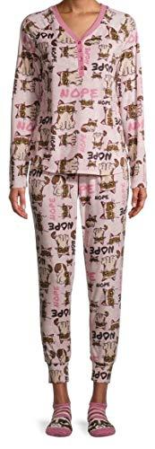 Christmas Grumpy Cat Pink Crystal 3 Piece Pajama Sleep Set w/Socks - Medium