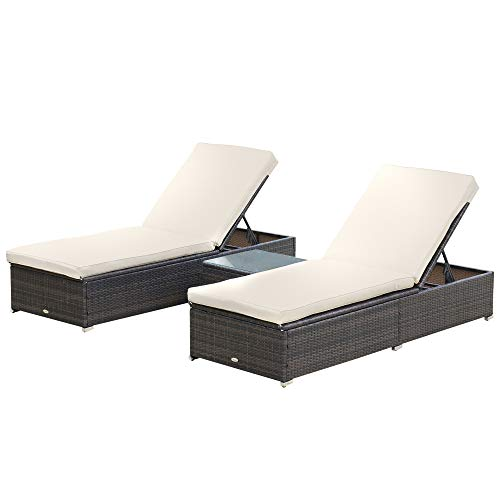 Outsunny 3-Piece Rattan Wicker Patio Chaise Lounge Set with 5 Backrest Angles, Thick Cushions, & Matching Table, Brown